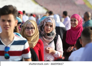 BUCHAREST, ROMANIA - June 25, 2017: Muslims celebrating Eid al-Fitr which marks the end of the month of Ramadan, on Dinamo Stadium.