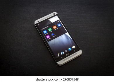 Bucharest, Romania - June 26, 2015: Microsoft apps icons on screen of a mobile smartphone. Microsoft launches new office productivity tools apps for mobile devices.