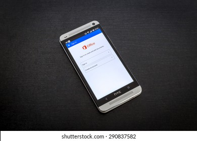 Bucharest, Romania - June 26, 2015: Microsoft Office app on screen of a mobile smartphone. Microsoft launches new office productivity tools apps for mobile devices.