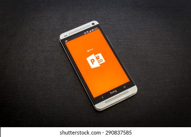Bucharest, Romania - June 26, 2015: Microsoft PowerPoint app on screen of a mobile smartphone. Microsoft launches new office productivity tools apps for mobile devices.