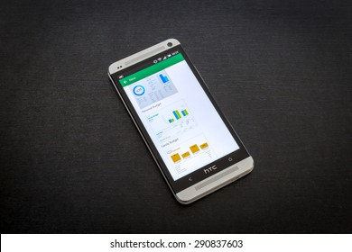 Bucharest, Romania - June 26, 2015: Microsoft Excel app on screen of a mobile smartphone. Microsoft launches new office productivity tools apps for mobile devices.
