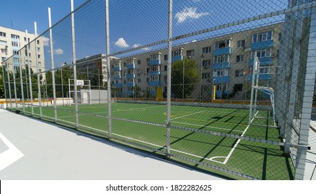 Bucharest, Romania - June 26, 2020 Mini soccer field with artificial playing surface on tre roof of a multi-storey car parking inaugurated in Berceni neighborhood.