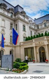 BUCHAREST, ROMANIA - June 28, 2015. Main entrance detail of Grand Hotel Continental located on Victoria Avenue (Calea Victoriei).