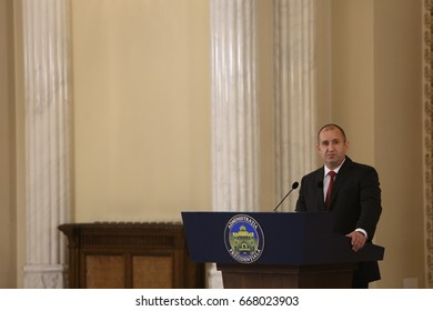 BUCHAREST, ROMANIA  - June 28, 2017:  Bulgarian President Rumen Radev speaks speaks during the joint press conference with Bulgarian counterpart in his first official visit in Romania.