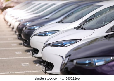 Bucharest, Romania - June 28, 2019: Details with headlights of electric cars of the French car manufacturer Renault.