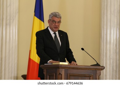 Bucharest, Romania - June 29, 2017: Mihai Tudose, the new Prime Minister of Romania, attends the Romanian Government Swearing-in ceremony at Cotroceni Palace, in Bucharest, Romania. June 29, 2017