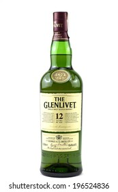 BUCHAREST, ROMANIA - June 3, 2014: bottle of Glenlivet single malt scotch whisky. The Glenlivet brand is the biggest selling single malt whisky in the USA and the 2nd biggest globally.