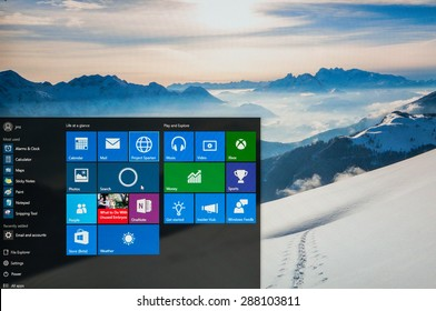 Bucharest, Romania - June17,2015: Photo of Windows 10 Insider preview running on a pc screen. Windows 10 is the new version of Windows OS; it is set for release on July 29, 2015.