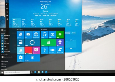 Bucharest, Romania - June17,2015: Photo of Windows 10 Insider preview running on a pc screen with weather. Windows 10 is the new version of Windows OS; it is set for release on July 29, 2015.