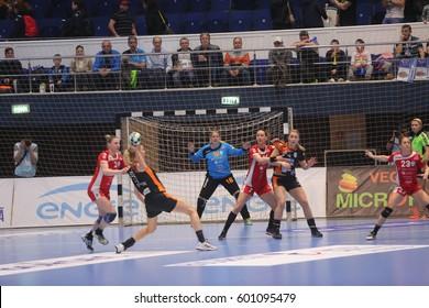 BUCHAREST, ROMANIA - MARCH 03, 2017: WOMEN'S EHF Champions League 2016-17, CSM Bucuresti vs RK Krim Mercator handball game.