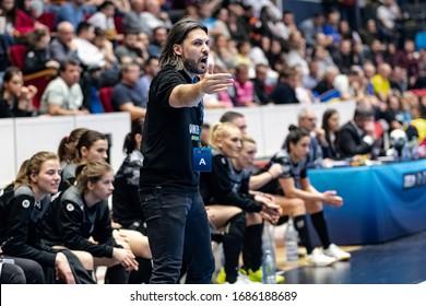 Bucharest, Romania - March 07, 2020;  Handball coach VASILE Adrian during the game between  CSM Bucuresti vs Vipers Kristiansand ( 28 - 22 ) 2019/2020 Women's EHF Champions League - Main Round