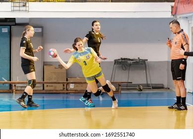 Bucharest, Romania - March 07, 2020 : Youth handball player during the game between CSS 2 Bucuresti vs CSM Corona Brasov ( 30 - 31 ) - juniors championship game