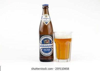 BUCHAREST, ROMANIA - March 09, 2015: A bottle and a glass of beer Weihenstephaner. The Weihenstephan Brewery is the world's oldest continuously operating brewery. Brewed in Freising , Germany