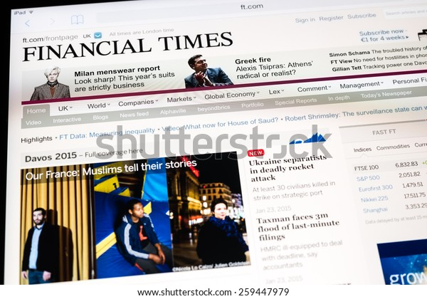 BUCHAREST, ROMANIA - MARCH 09, 2015: The Financial Times Newspaper On Apple iPad Tablet. It is a British English international daily newspaper with a special emphasis on business and economic news.