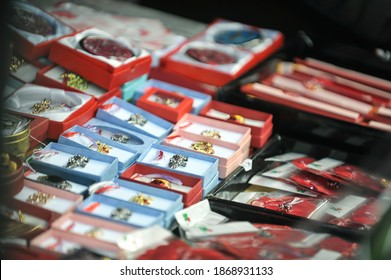 Bucharest, Romania - March 1, 2012: 1st of March trinkets (martisoare) are being sold outdoors in downtown Bucharest.