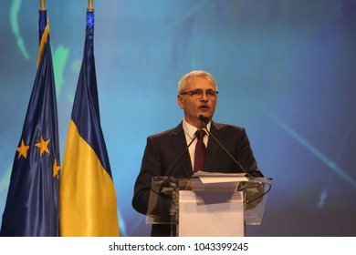 BUCHAREST, ROMANIA - March 10, 2018: Liviu Dragnea, President of Social Democrat Party speaks at the Extraordinary National Congress.