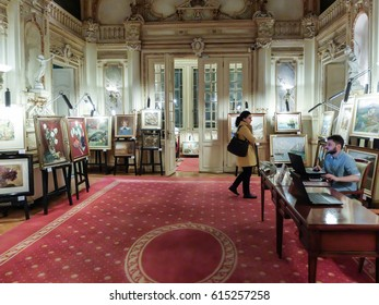 BUCHAREST, ROMANIA, March 11, 2016: Paintings from different authors from Cioran's collection are auctioned at the Artmark auction house.