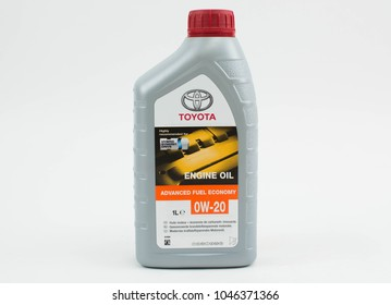 Bucharest, Romania - March 11, 2018: Toyota Engine oil 0w-20 for Hybrid Synergy Drive cars