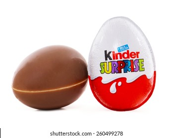 BUCHAREST, ROMANIA - MARCH 15, 2015. Kinder Surprise, a chocolate egg containing a small toy for children, but also popular with adult collectors. Kinder Surprise eggs are produced by Ferrero.