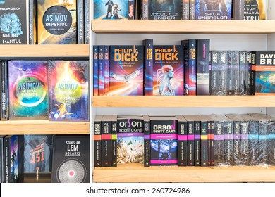 BUCHAREST, ROMANIA - MARCH 15, 2015: Science Fiction Books For Sale On Library Shelf.