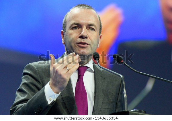 Bucharest, Romania - March 16, 2019: Manfred Weber, the EPP candidate for the President of the European Commission, speaks at the European People's Party summit, held in Bucharest.
