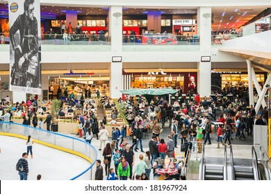 BUCHAREST, ROMANIA - MARCH 16: People Crowd On Restaurant Floor In Luxurious Shopping Mall on March 16, 2014 in Bucharest, Romania.