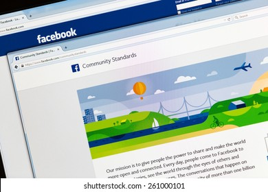 Bucharest, Romania - March 16,2015: Photo of Facebook's new updated Community Standards page on a monitor screen - it presents, explains and clarifies guides,policies and rules.