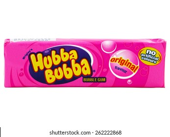 """BUCHAREST, ROMANIA - MARCH 20, 2015. Hubba Bubba Bubble gum original flavour produced by Wrigley. The name comes from the phrase """"Hubba Hubba"""" used by soldiers during World War II to express approval."""