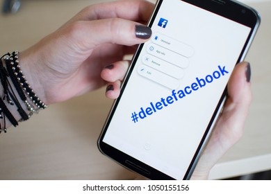 Bucharest, Romania - March 20 2018 - This image represents my phone and symbolises the biggest movement in social media in 2018 amid Cambridge Analytica Files leak: #deletefacebook