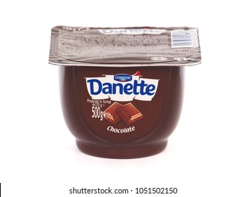 BUCHAREST, ROMANIA - MARCH 21, 2018. Danone Danette Chocolate pudding. Danone is a multinational food-products corporation based in Paris.