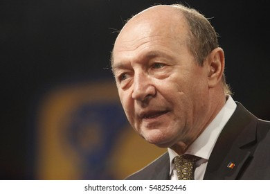 BUCHAREST, ROMANIA - March 23, 2013: Romanian President Traian Basescu speaks at the National Congress of Liberal Democratic Party.