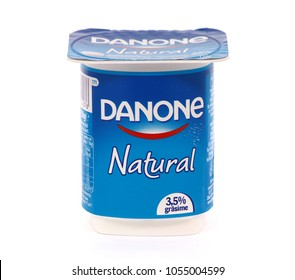 BUCHAREST, ROMANIA - MARCH 25, 2018. Danone Natural yogurt. Danone is a multinational food-products corporation based in Paris.