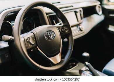 BUCHAREST, ROMANIA - MARCH 28, 2018: Toyota Car Cockpit Inside View