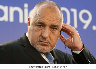 Bucharest, Romania - March 29, 2019: Boyko Borissov, Prime Minister of Bulgaria, holds a speech at the end of the intergovernmental meeting of Romania and Bulgaria at Victoria Palace in Bucharest.