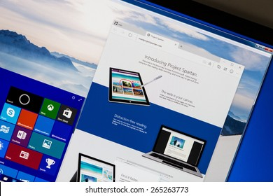 Bucharest, Romania - March 31, 2015: New Microsoft Edge (Project Spartan) Internet Browser in Windows 10 technical preview running in a virtual machine on a pc screen. it is set for release in 2015