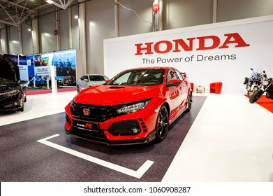 Bucharest, Romania . MARCH 31, 2018: Honda Civic Type-R sportive hatchback car presented at the Salonul International de automotile Bucharest