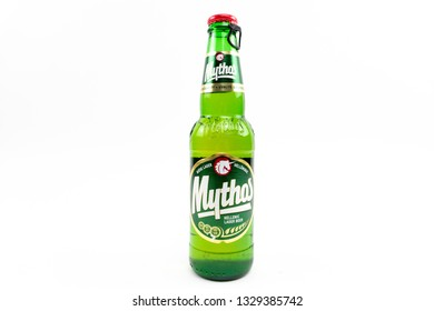 Bucharest, Romania: March 4, 2019 - Mythos beer,Made by the Mythos Brewery company, the popular brand was launched in 1997