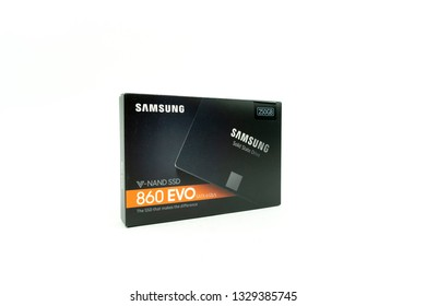 Bucharest, Romania: March 4, 2019 - packaging box of NVME PCIE SSD hard drive disk with high read and write speed, samsung 860 evo, ssd, new,