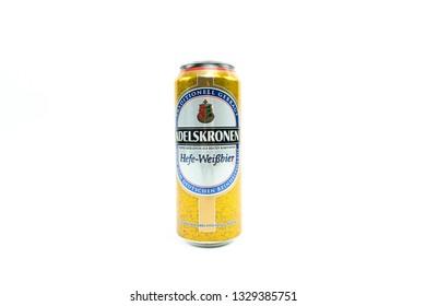 Bucharest, Romania: March 4, 2019 - Adelskronen Hefe-Weißbier,Brewed by Brauerei Braunschweig (Oettinger)