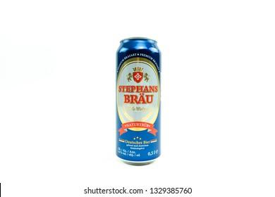 Bucharest, Romania: March 4, 2019 - Stephans Bräu Hefe-Weizen,Brewed by Privatbrauerei Eichbaum