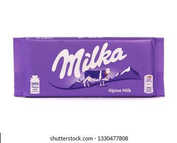 BUCHAREST, ROMANIA - MARCH 5, 2019. Milka alpine milk chocolate bar, marketed by Mondelez International. Milka is the first milk chocolate bar in the world.