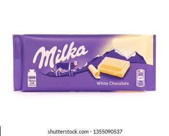 BUCHAREST, ROMANIA - MARCH 5, 2019. Milka white chocolate bar, marketed by Mondelez International. Milka is the first milk chocolate bar in the world.