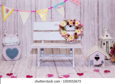 Bucharest, Romania - March 5th, 2019  Backdrops for photo studio with vintage decor and old objects proper for kids and family photo sessions.