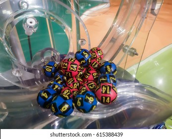BUCHAREST, ROMANIA, March 6, 2016: Image of lottery balls during extraction of the winning numbers.