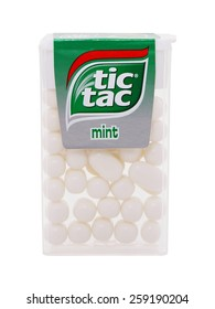 BUCHAREST, ROMANIA â?? MARCH 9, 2015. Tic Tac mint, used to refresh the mouth, cooling breath and gives off a pleasing smell . Tic Tac is a brand of small, hard mints, produced by Ferrero.