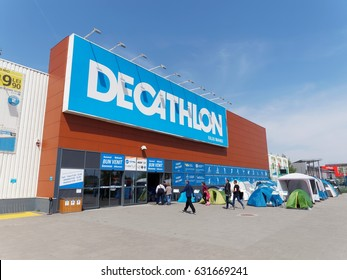 BUCHAREST, ROMANIA - MAY 01, 2017. Decathlon store in Bucharest, Romania. Decathlon is one of the world's largest sporting goods retailers with more than 850 stores in 22 countries.