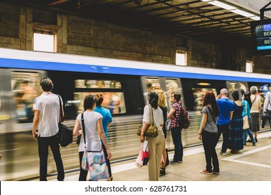 BUCHAREST, ROMANIA - MAY 06, 2015: People Travel By Subway Train In Downtown Bucharest City.