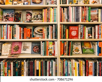 BUCHAREST, ROMANIA - MAY 06, 2017: Famous Cook Recipe Books For Sale In Library Book Store.