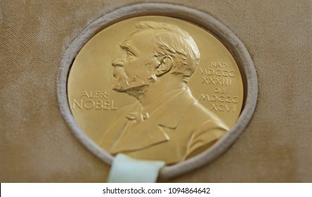 Bucharest, Romania - May 08, 2018: The Nobel Prize of George Emil Palade is donated by his descendants to the National History Museum of Romania, in Bucharest.