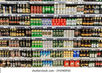 BUCHAREST, ROMANIA - MAY 08: Beer Cans On Supermarket Shelf on May 08, 2014 in Bucharest, Romania.